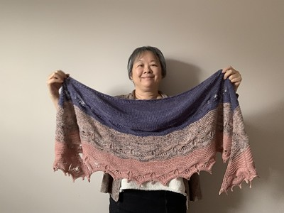 I finished my Malabrigo KAL sample of Joji's Odyssey Shawl but no one can see it in person!