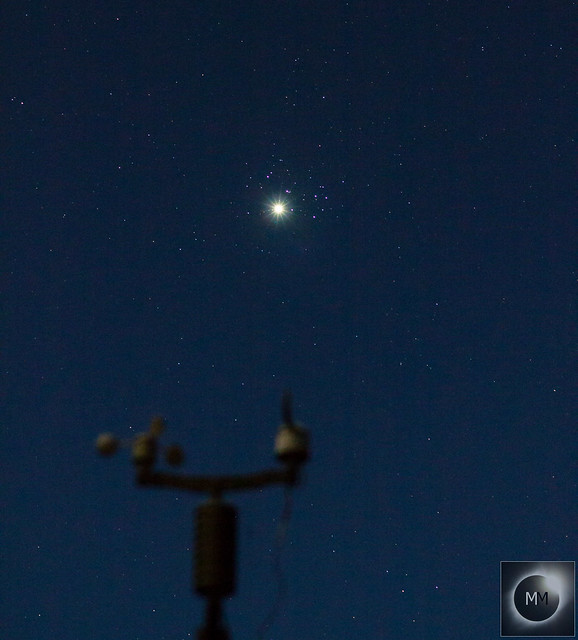 Venus & M45 The Pleiades above the Weather Station 21:06 BST 03/04/20