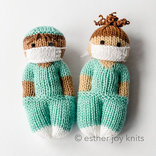 Nurse Mates doll pattern by Esther Braithwaite - created at the request for a pattern from a nurse in Denmark to share with her co-workers. Created with great respect and gratitude for all of the medical professionals working tirelessly to keep us safe.