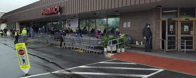 I've been resisting mentioning the COVID-19 coronavirus here on Flickr and its effect on everyday life. This morning, I drove to our local ShopRite and this was the scene that greeted me.  Welcome to a whole new world! Pearl River, NY. April 2020