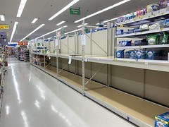 Empty toilet paper aisle, Cole Harbour Walmart
