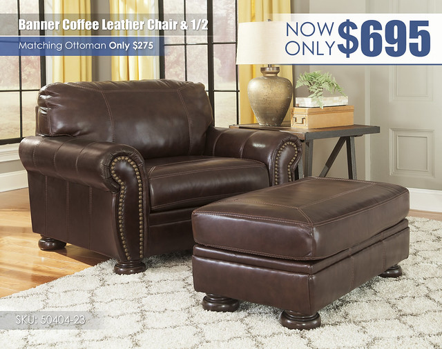 Banner Coffee Leather Chair & Half_50404-23-14