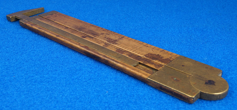 RD21748 Vintage Stanley Number 36 ½ Boxwood & Brass Fold Out Ruler With Calipers DSC02178