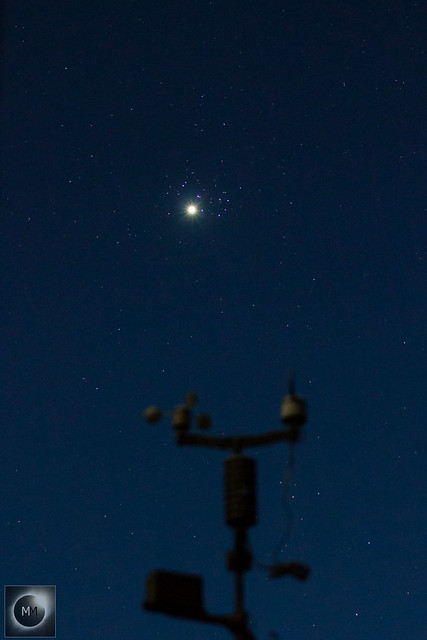 Venus & M45 The Pleiades above the Weather Station 21:03 BST 03/04/20