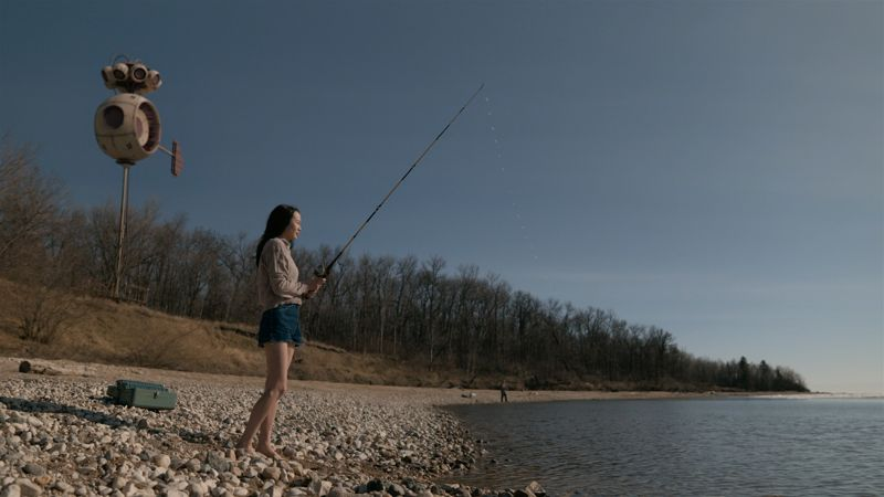 Actress fishing in the lake