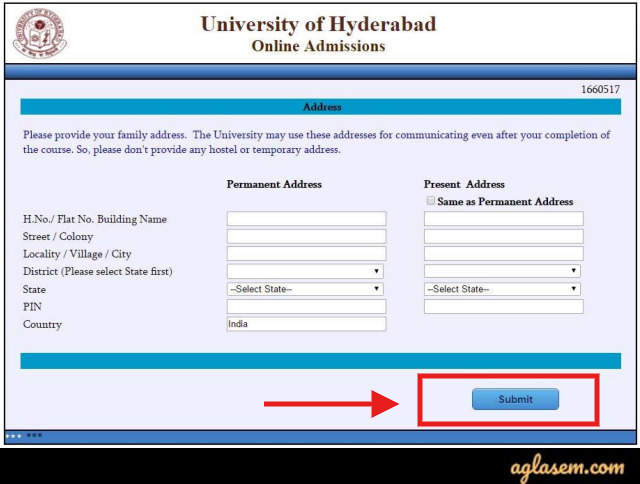 University of Hyderabad Application Form 2020