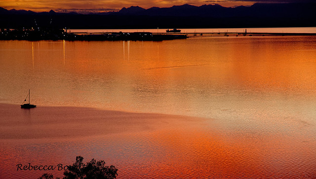 Sunset Reflections in Nelson Haven