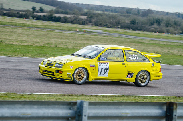 Ford Sierra Cosworth approaching the Campbell, Cobb and Seagrave complex at Thruxton