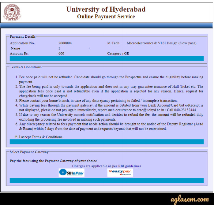 University of Hyderabad Application Form Payment Gateway