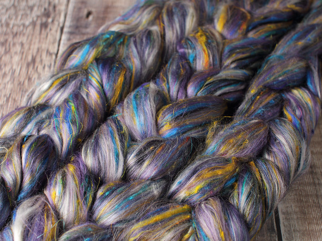 87g Karma Blend Bamboo, Recycled Sari Silk and Mint eco friendly combed top/roving spinning fibre – 'Symphony'