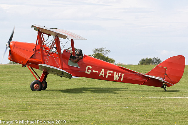 G-AFWI - 1939 build de Havilland DH.82A Tiger Moth, arriving on Runway 21L at Sywell during the 2019 LAA Rally