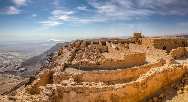 Panorama view of Masada National Park - Judaean Desert Masada Israel