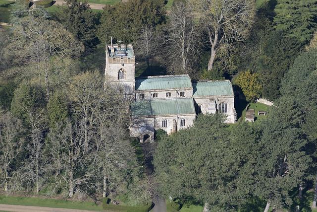 Easton Neston St Mary church aerial image