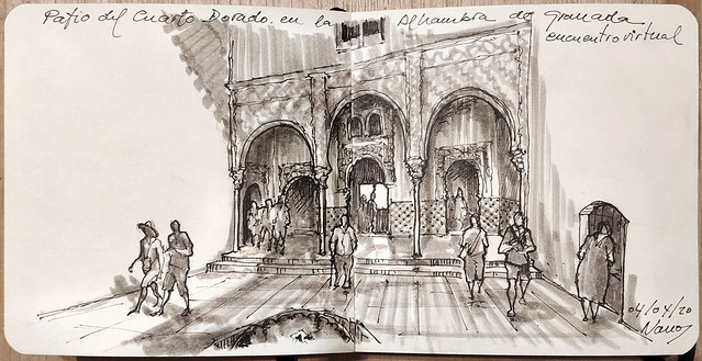 Encuentro Virtual en la Alhambra de Granada.  Mi visita virtual al Patio del Cuarto Dorado.