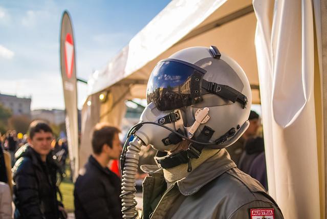 Austrian military pilot with helmet