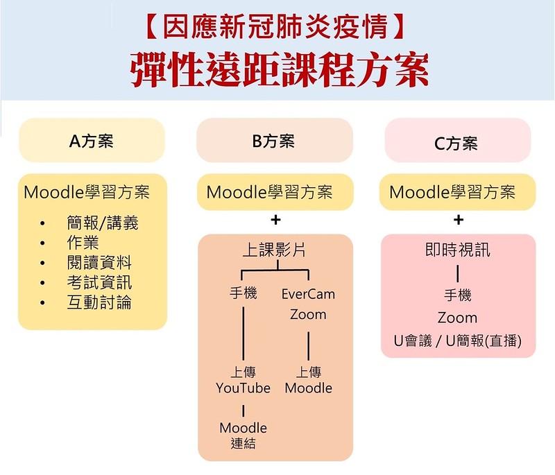 三種彈性遠距課程方案。圖/取自師大官網