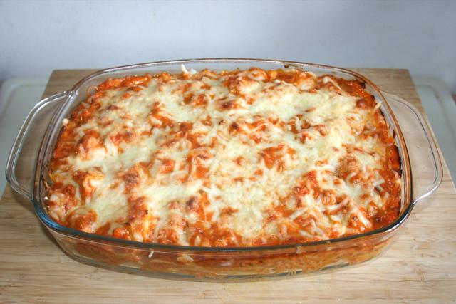 43 - Gratinated salmon leek spaghetti - Finished baking / Überbackene Lachs-Lauch-Spaghetti - Fertig gebacken