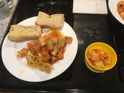 Pasta dish plated