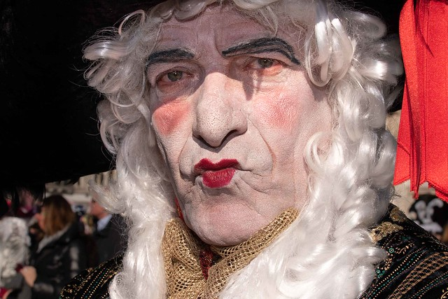 Funny character at the Carnival in Venice 2020.