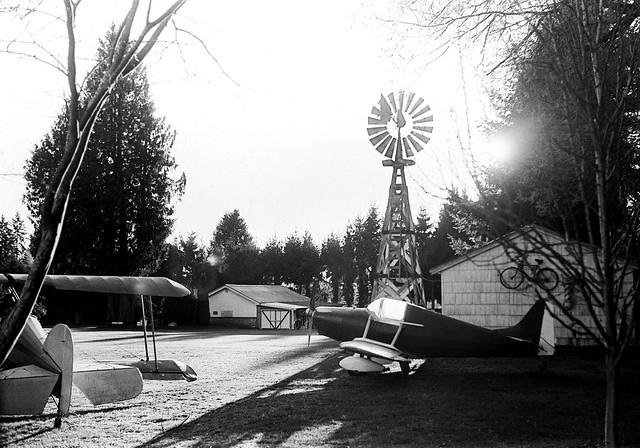 Airplanes, Windmill, Bike, Barn and Sunset