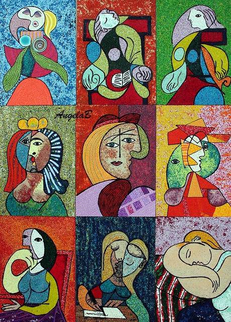 Picasso, polymer clay painting, 180