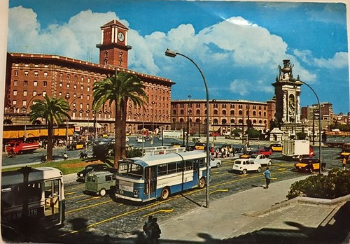 autobús Karpetan plaça Espanya Barcelona 1960