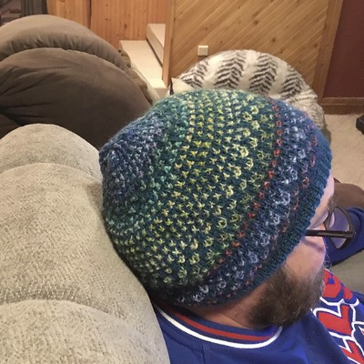 Wow  The Shiftalong hat by Andrea Mowry that Diane knit her husband after she finished her Nightshift Shawl looks awesome!