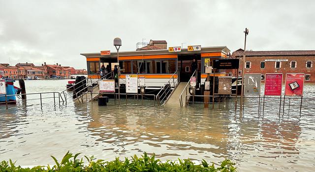 Acqua Alta in Venice. November 2019. Murano island