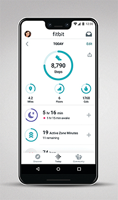 Fitbit app (Android version) showing Active Zone Minutes.