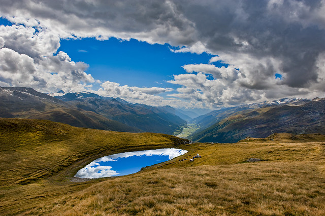 End of summer time in the Swiss Alps. Furka pass ,a  view to the Grate Wallis . Switzerland. No. 2266 A.