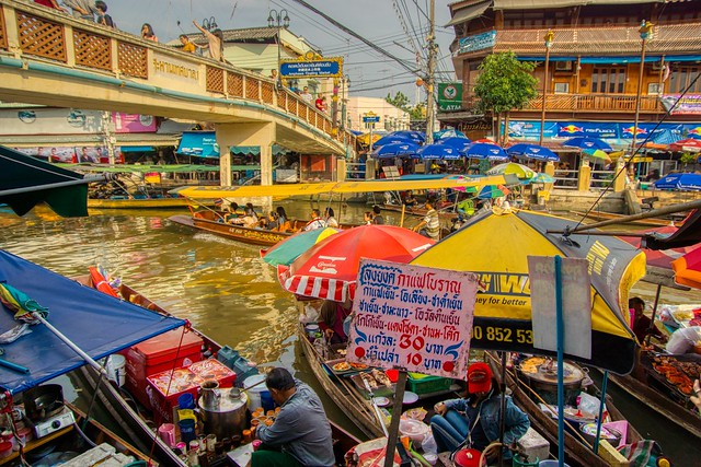 Amphawa floating market in Samut Songkhram province in Thailand