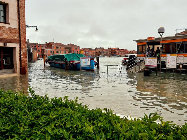 Acqua Alta in Venice. November 2019. Murano island - 2