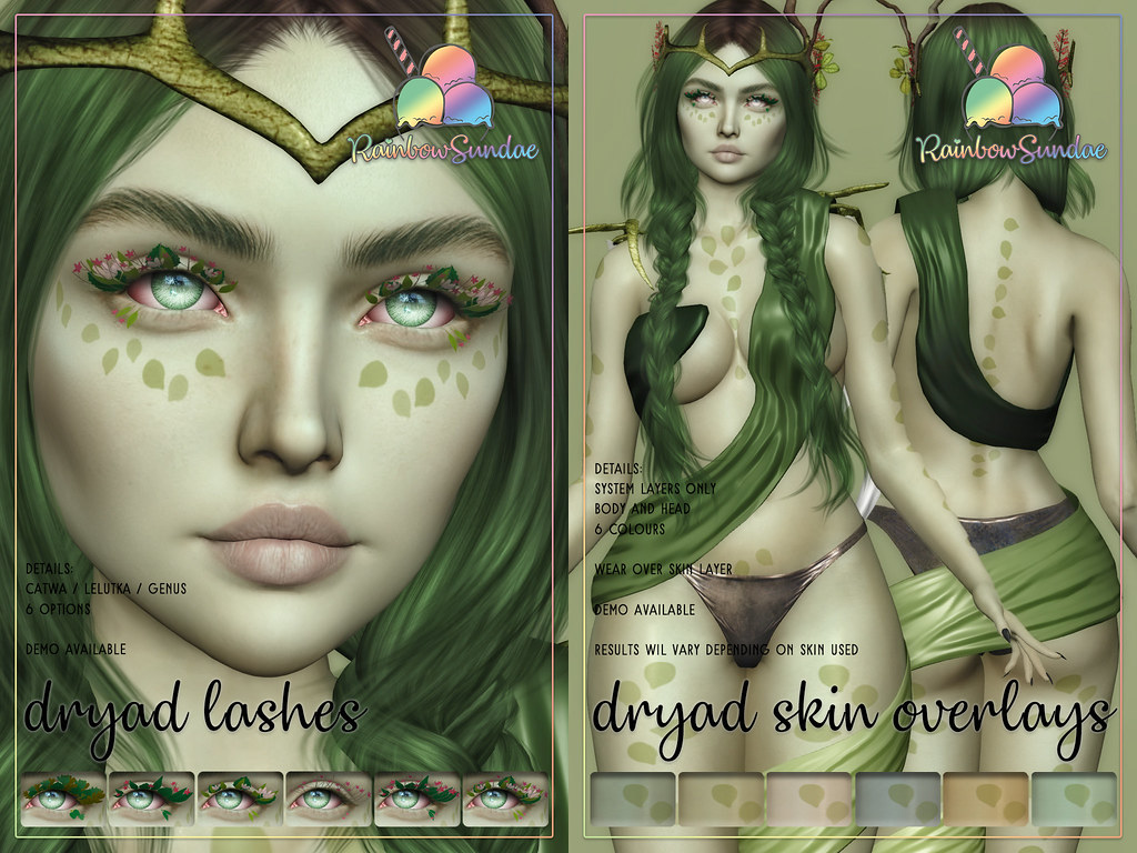 *Rainbow Sundae* Dryad Lashes & Skin Overlays @ We Love Roleplay