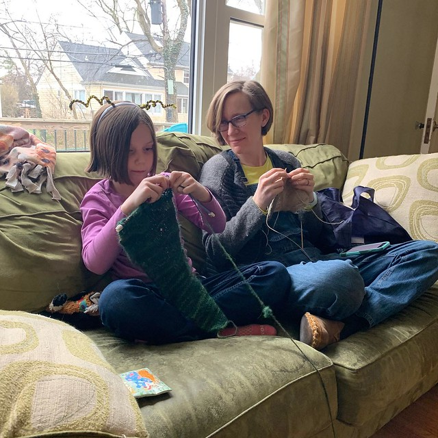 Andrew snapped a picture of us knitting together!
