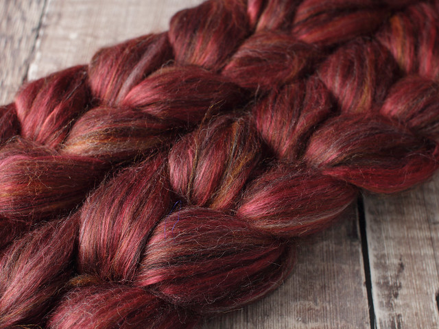 86g Indulgence British wool, baby Alpaca and Mulberry Silk blended top spinning fibre in 'Rosewood'