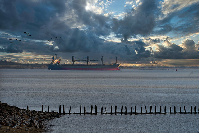 Jade 1 Cargo ship Panama Flagged, in the Bristol Channel. Uk