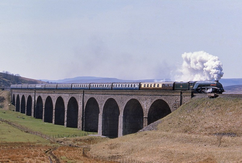 Union of South Africa on the viaduct with a northbound CME on 28/4/1984.This should have been worked very gently because of the fire risk but no-one told the driver and a number of fires were caused as he set a record time for the climb from Settle Junc to Blea Moor. Copyright David Price No unauthorised use