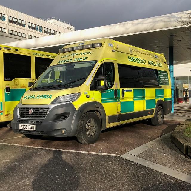 Seen at Oxford's John Radcliffe Hospital on 23/12/2019.  East Midlands Ambulance Service 0121 YA65DAU Fiat Ducato with a VCS Emergency Ambulance conversion.