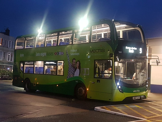 Southern Vectis 1665, HW67AJY -  Route 9   Ryde Esplanade Bus Station