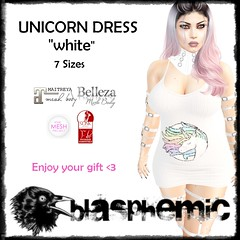 BLASPHEMIC - Unicorn Dress - WHITE AD