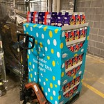 One pallet of easter eggs is ready to go