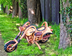 Eco-friendly Wooden Motorcycle macro