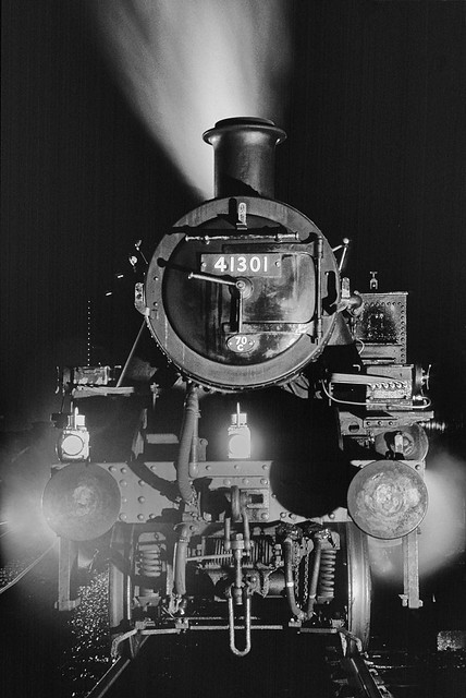 A night time head-on view of Ivatt Mickey Mouse tank no. 41301 as it waits at Loughborough. (EXPLORED)
