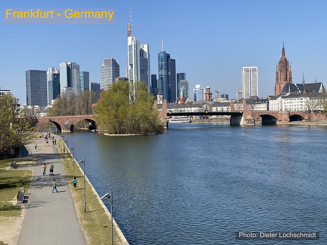Frankfurt in Germany and the River Main - April 5, 2020