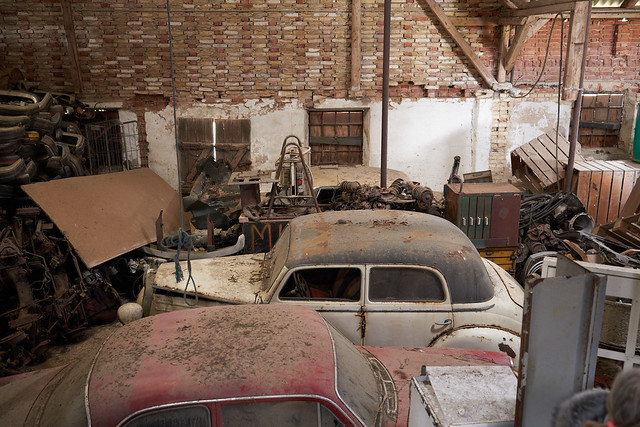 The barn of vintage cars and bikes