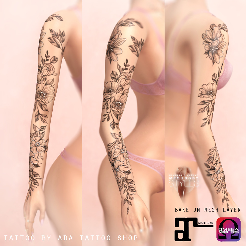 ADA Tattoo SHOP Subtle floral sleeve tattoo (Maitreya, Omega, BoM, Legacy)