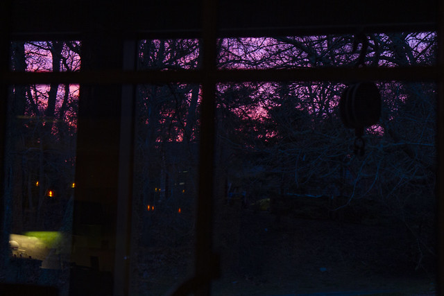 Through the Window on a Purple-Pink Morning