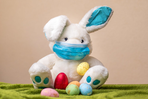 Easter bunny with easter eggs wearing a face mask | by Ivan Radic