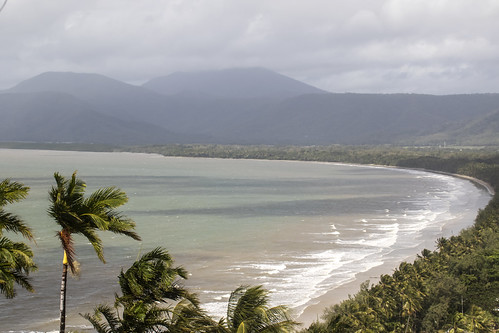 fourmilebeach portdouglas qld queensland au aus australia beach palm surf coastline trinitybaylookout windy view