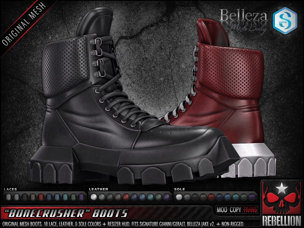 "= REBELLION = ""BONECRUSHER"" BOOTS"
